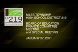 Finance Committee & BOE Special Meeting January 26 2021